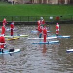 Inflatable SUP paddleboard father christmas River Avon