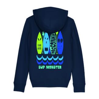 Kids zip-through organic Monster SUP hoody