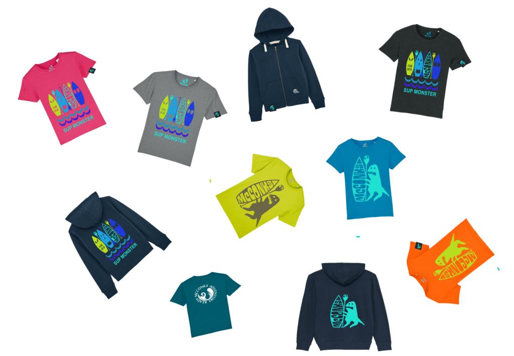 Kids organic SUP tshirts and hoodies