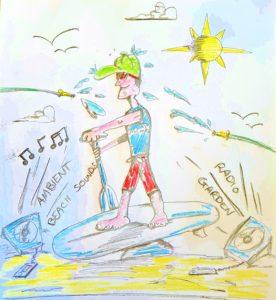 Garden paddling illustration