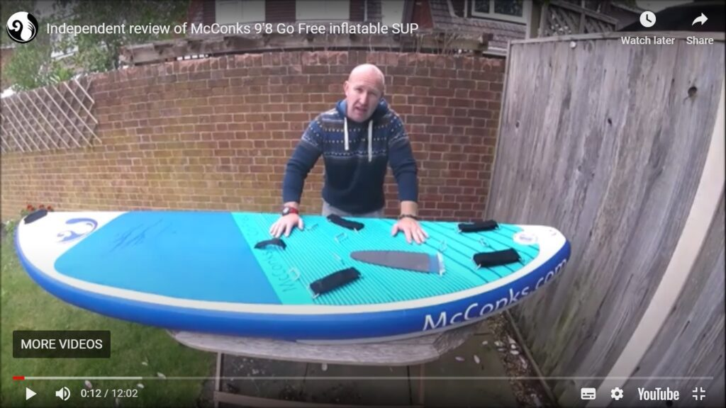 McConks windSUP/windsurf/wingsurf guide #1 – 9'8 Go Free inflatable board overview.