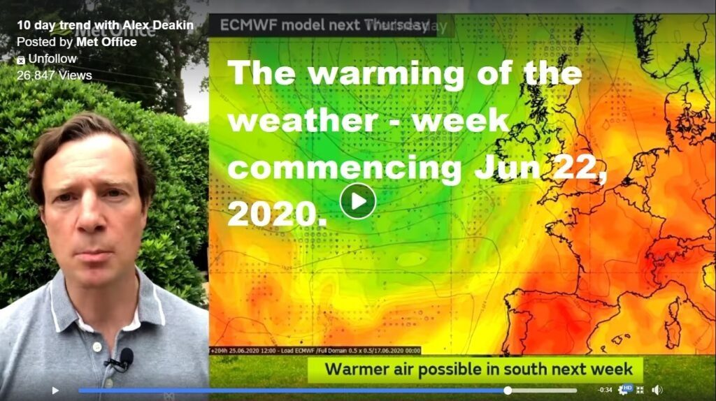 The warming of the weather: week Mon 22 Jun – Wed 1 July 2020.