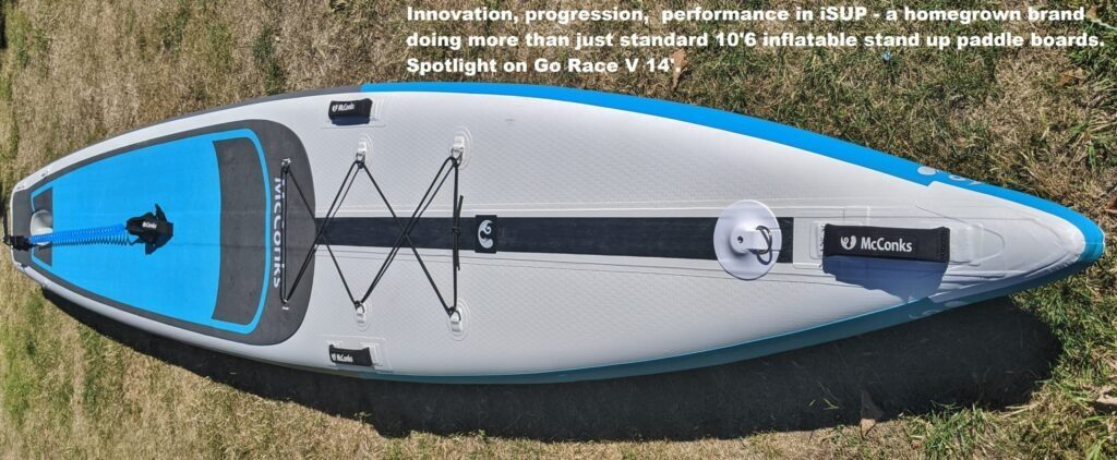 Innovation, progression,  performance in iSUP – a homegrown brand doing more than just standard 10'6 inflatable stand up paddle boards. Spotlight on Go Race V 14′.