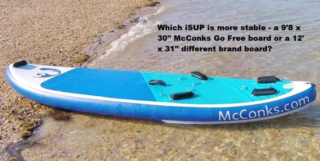 Which iSUP is more stable – a 9'8 x 30″ McConks Go Free board or a 12′ x 31″ different brand board?