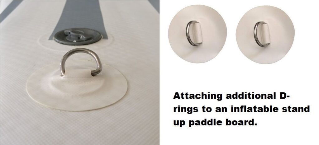SUP hack #3569 – attaching additional D-rings to an inflatable stand up paddle board.