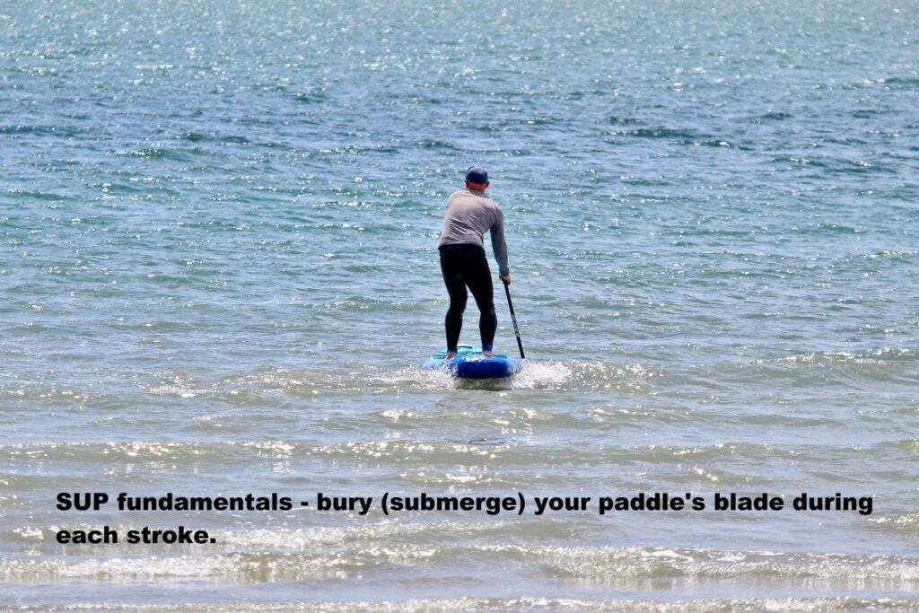 SUP fundamentals – bury (submerge) your paddle's blade during each stroke.