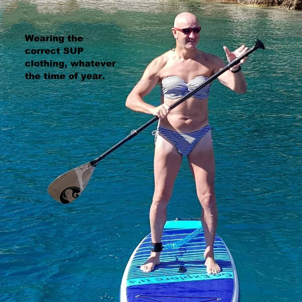 Wearing the correct SUP clothing, whatever the time of year.