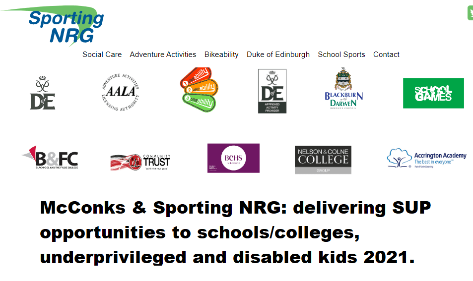 McConks & Sporting NRG: delivering SUP opportunities to schools/colleges, underprivileged and disabled kids 2021.